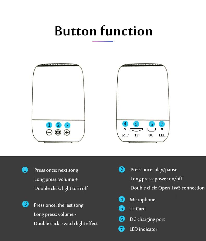 HANTOPER Colorful LED Lights Bluetooth Speaker  5