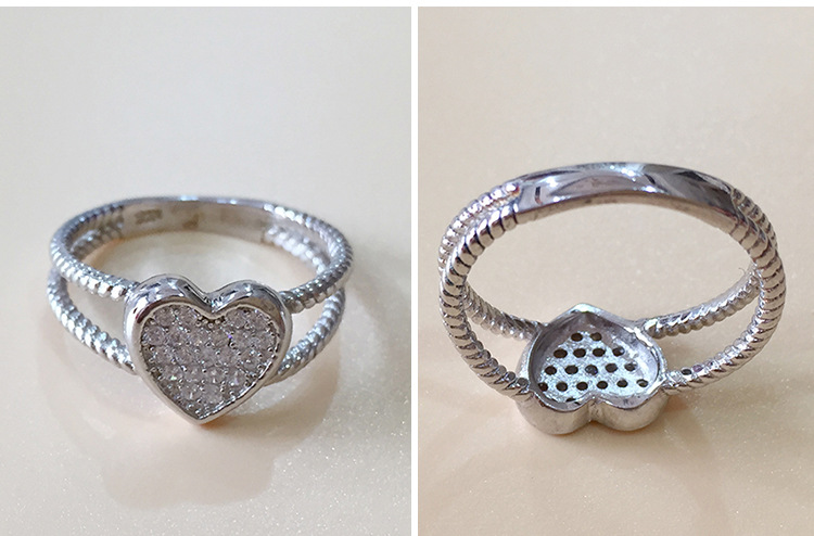 925 Sterling Silver Love Heart White Gold Color Ring