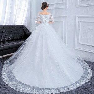 Image 3 - プラスサイズゴージャスなロング列車のウェディングドレスのレースビーズの夜会服の肩エレガントな花嫁ドレス高級ウェディングドレス