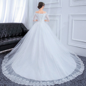 Image 3 - Plus Size Prachtige Lange Trein Trouwjurken Lace Kralen Baljurk Van De Schouder Elegante Bruid Jurken Luxe Bruidsjurken