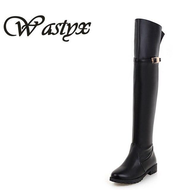 f92e6fb7a475 Wastyx Новый Женские ботинки Мода Adies без каблука Сапоги выше колена высокие  зимние женские сапоги для