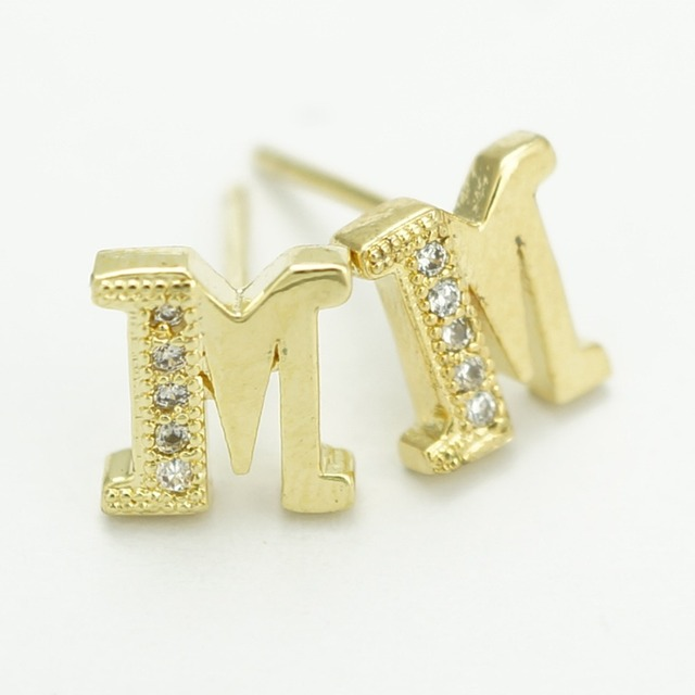 Classic designer 18k gold planted m alphabet letter stud earrings classic designer 18k gold planted m alphabet letter stud earrings for women jewelry thecheapjerseys Gallery