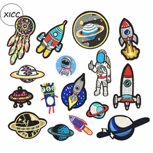 XICC Stock Star UFO Rocket Riverdale Iron On Patches For Kids Children Clothes Stickers Astronauts Space Badges Applique DIY