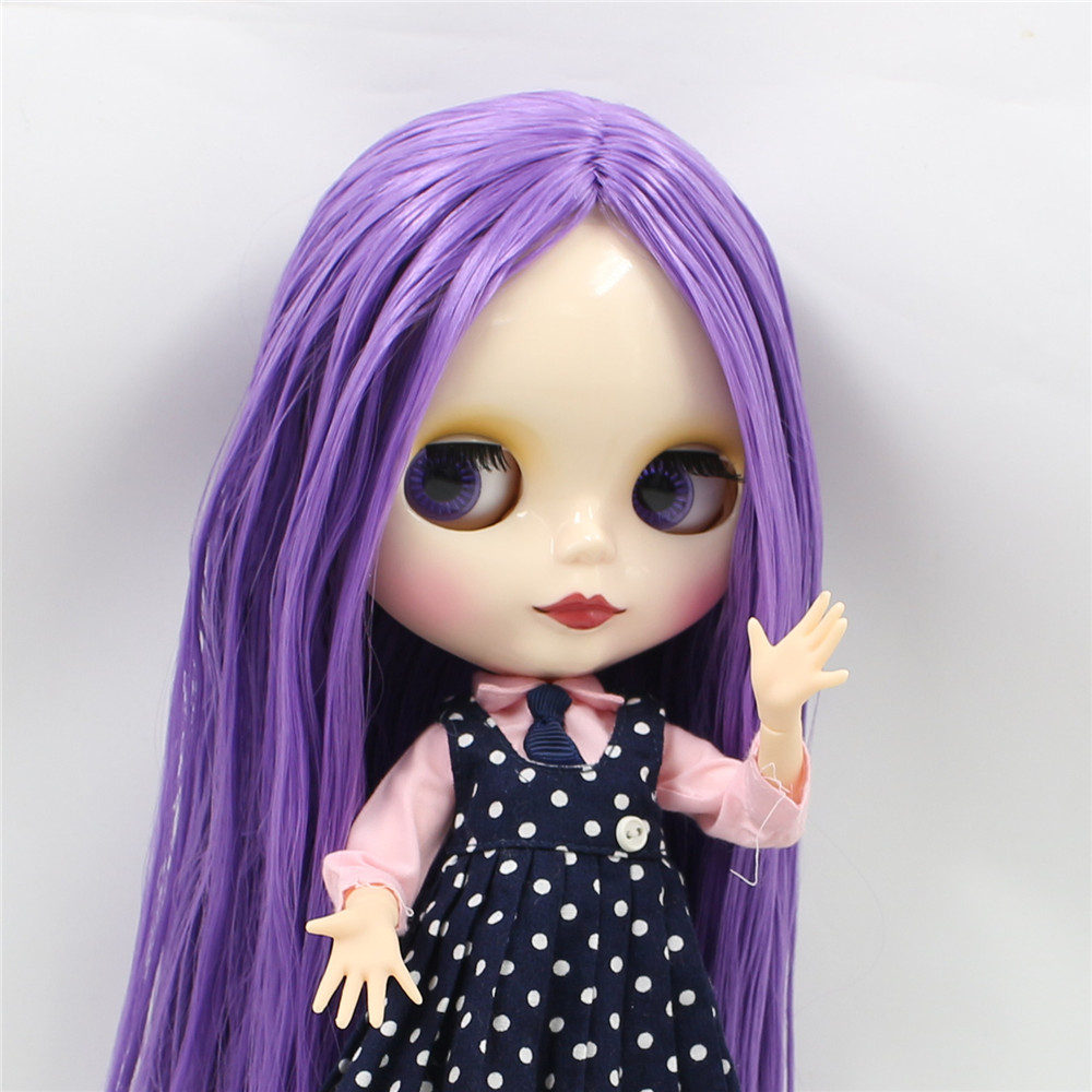 Neo Blythe Doll with Purple Hair, White Skin, Shiny Face & Jointed Body 2