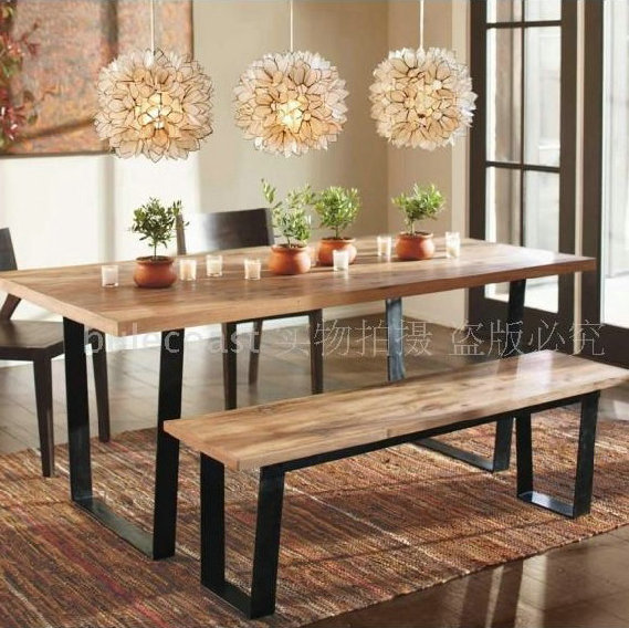 Nordic Wood Handmade Rustic Vintage Wrought Iron Dining Table Coffee Book  Bench Long Dinette Chairs