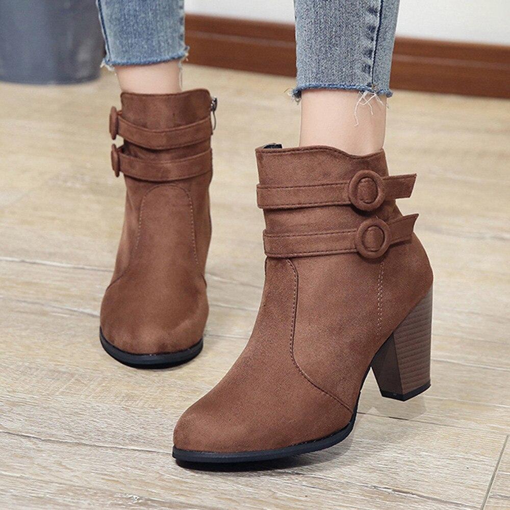 Women's Belt Buckle Short Boots 3