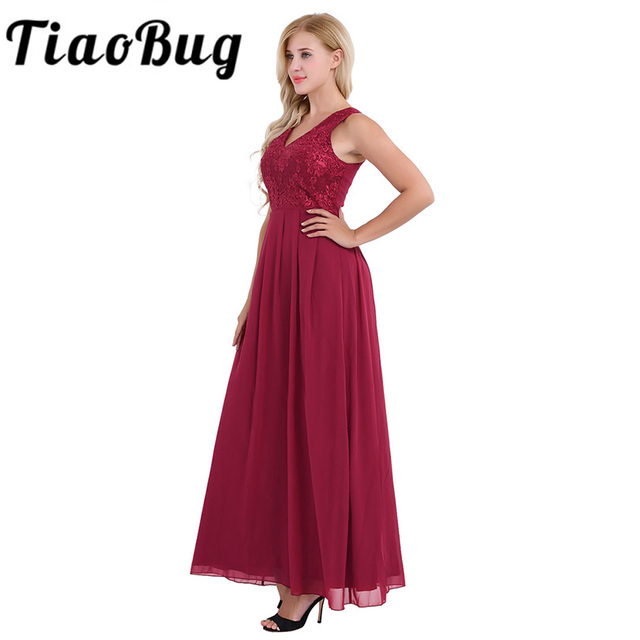 2020 Women Ladies Chiffon Sleeveless Bridesmaid Dress Pleated Waist Long Embroidered Floral Print Wedding Party Dress Prom Gown