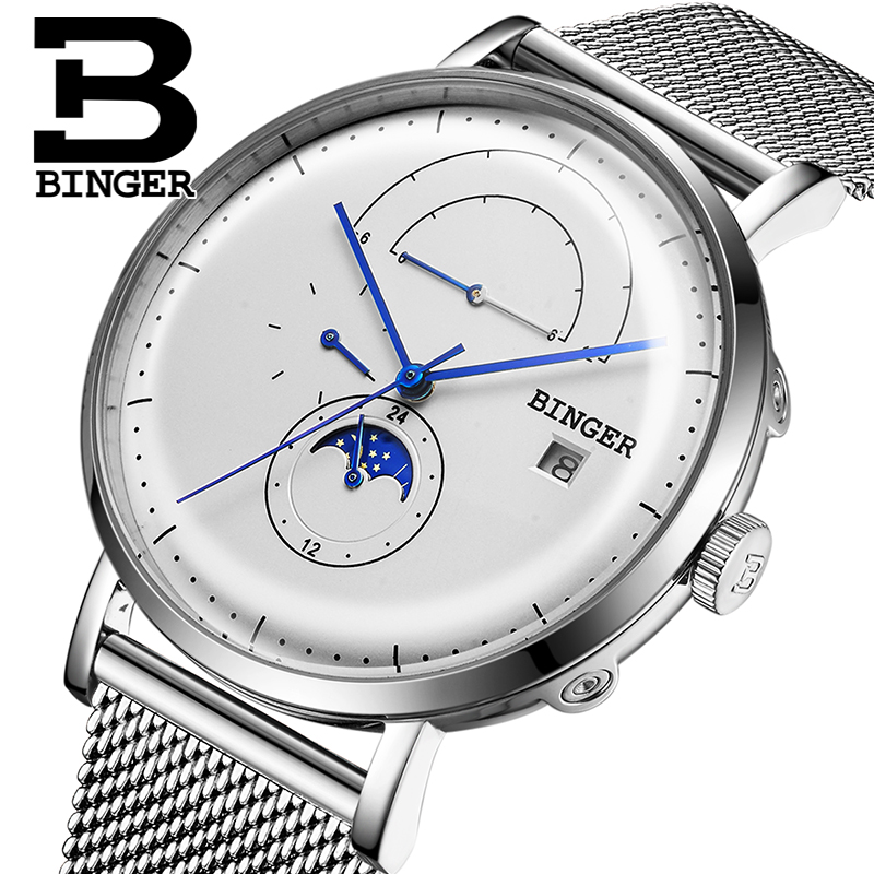Genuine Switzerland BINGER Brand Men Curve Surface automatic mechanical male self-wind waterproof Moon phase watch genuine switzerland binger brand men automatic mechanical luminous calendar waterproof sports chronograph military gold watch