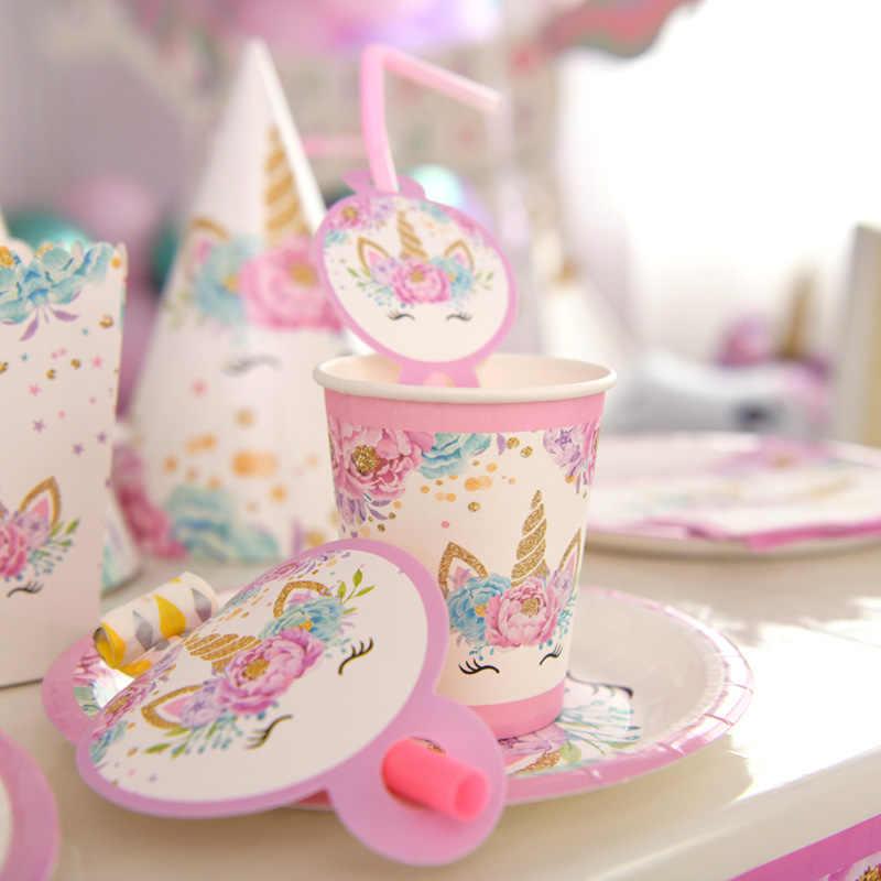 Unicorn Party Supplies Pink Rainbow Unicorn แบนเนอร์แผ่นบอลลูนผ้าเช็ดปาก Cupcake Wrapper เด็กอาบน้ำเด็กวันเกิดตกแต่ง