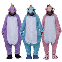 2017 Pegasus Unicorn Unisex Flannel Pajamas Adults Cosplay Treasure Cartoon Animal Onesies Sleepwear Hoodie For Women