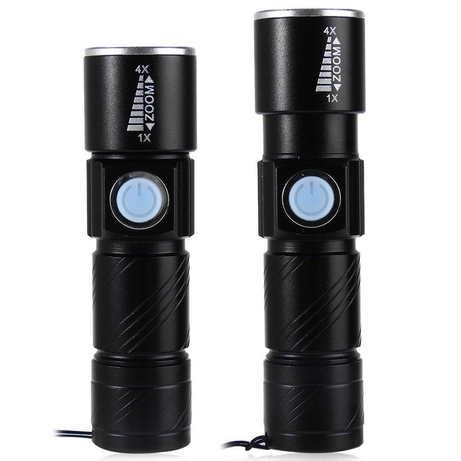 3 Modo de Flash de Luz Tático Lanterna Mini Zoom Recarregável Poderoso USB AC LEVOU Lanterna Lanterna Para Viagens Ao Ar Livre