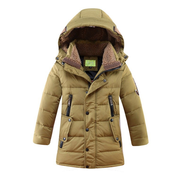 2017 design section down 4 color hooded fluff kids school big boy zipper overcoat long c ...