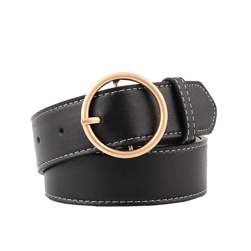 90-110x3.3cm Women's Belts Fashion Lady Design Gold Metal Round Buckle Belt Black Silver Strap Waist Belt For Women Jeans Cintos