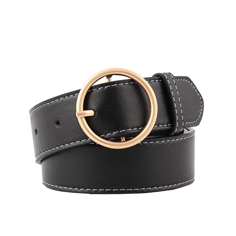 90-110x3.3cm Women's Belts Fashion Lady Design Gold Metal Round Buckle Belt Black Silver Strap Waist Belt For Women Jeans Cintos