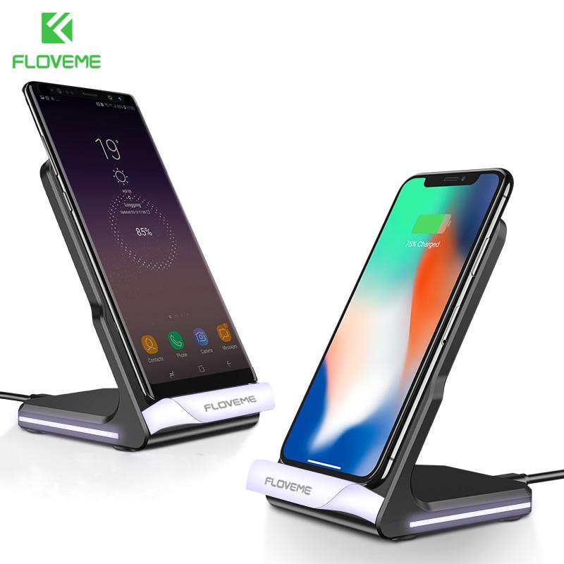 FLOVEME 10 W Respirazione LED Qi Caricatore Senza Fili Per iPhone 8 X Per Samsung Galaxy S8 S7 Nota 8 Nexus 4 5 6 Stand di Ricarica USB Dock