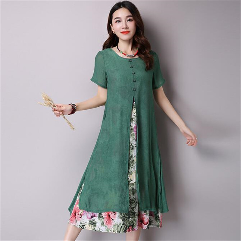 5ea85e14591 US $28.8 23% OFF|Pop Tide Vestidos Nice Autumn Women Dress Fashion Floral  Print Maxi Long Dress Short Sleeve Split Casual Loose Dresses Plus Size-in  ...