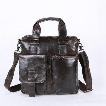 Nesitu Vintage Dark Coffee 100% Guarantee Genuine Leather Women / Men Messenger Bags Man Briefcase Portfolio #M259