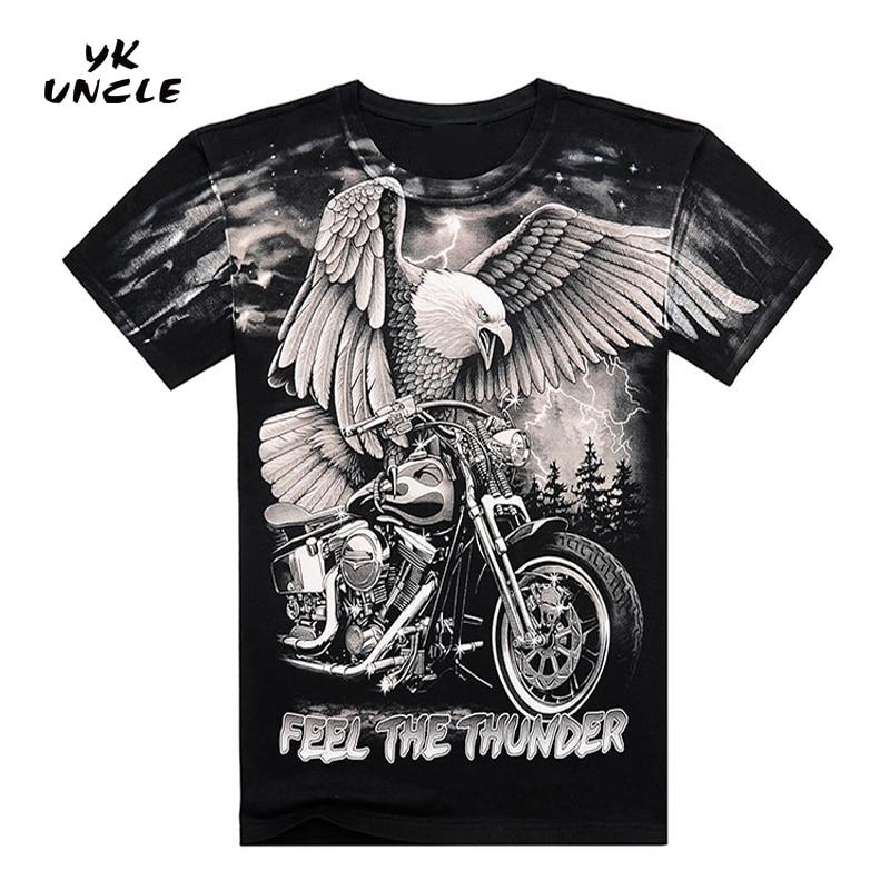 Лето Высокое Качество 3D Harley Мотоцикл И Орел Печатный Футболка Хлопок С Коротким Рукавом О-Образным Вырезом Футболка Мужчины M-XXXL, YK UNCLE