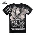 Verano de la Alta Calidad 3D de La Motocicleta Harley Y Águila Camiseta Impresa Algodón de Manga Corta O-cuello de la Camiseta de Los Hombres M-XXXL, YK TÍO