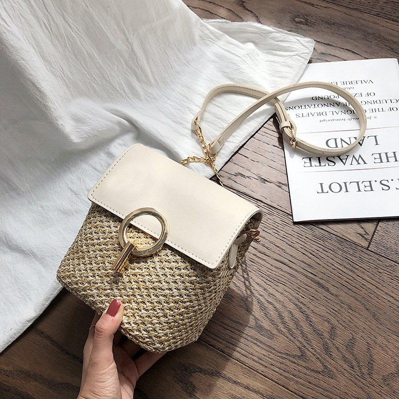 2019 Summer Fashion Straw Bucket Designer Crossbody Bags For Women Luxury Handbags Female Small Travel Shoulder Messenger Bags