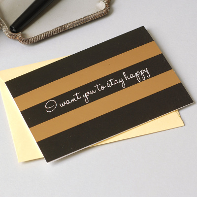 12set gold inlay black Card leave message cards Lucky Love