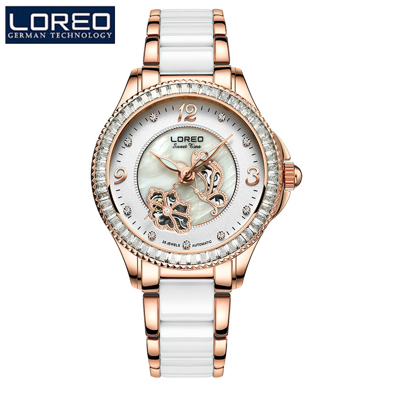 LOREO Luxury Women'S Bracelet Watch Leather Rhinestone Mechanical Wristwatches Dress Watches Relogio Feminino Cancer'S Watch K53 mooer triangle buff fuzz pedal full metal shell true bypass guitar effect pedal