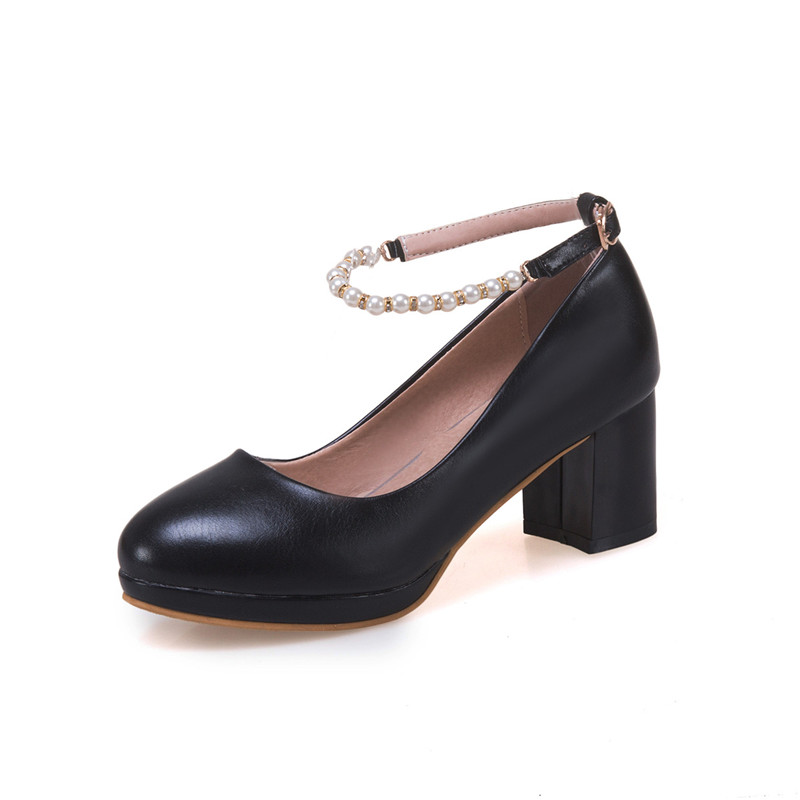 Image 4 - YMECHIC 2019 Fashion White Ankle Strap String Bead Mary Janes Wedding Shoes Woman Office Career Ladies Block Heel Shoe Plus SizeWomens Pumps   -