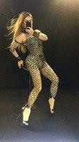 Высокая растянуть черный Кристаллы Стразы Комбинезоны женские DJ Показать костюмы Производительность певица танцор бриллиант сексуальные