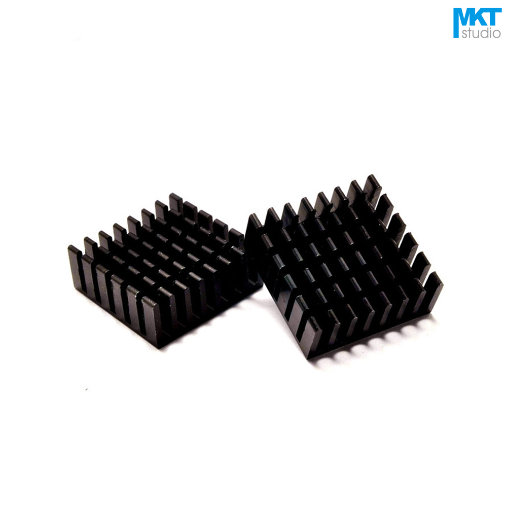 100Pcs Black 25mmx25mmx10mm Pure Aluminum Cooling Fin Radiator Heat Sink
