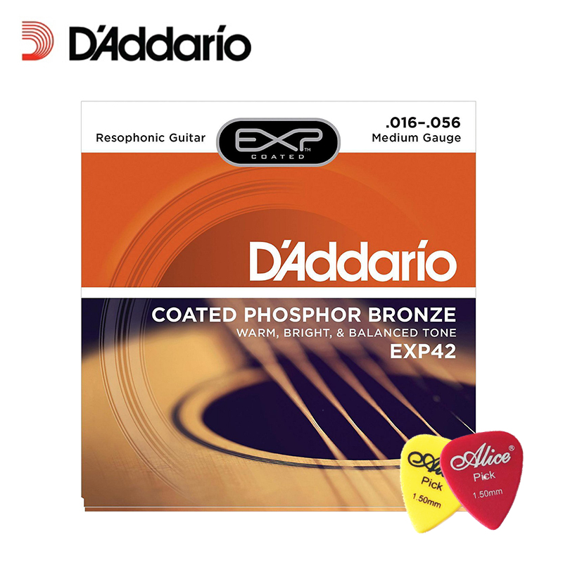 D'Addario EXP42 with NY Steel Coated Resophonic Guitar Strings, Coated, 16-56, Daddario Coated Phosphor Bronze (With 2pcs picks) firefight exp