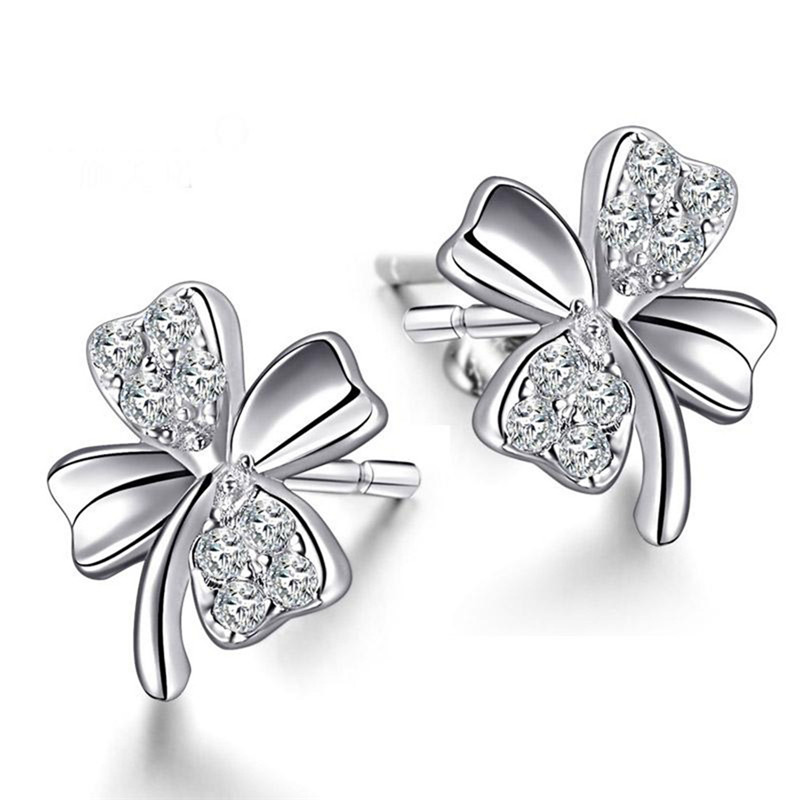 Earrings Female Woman Silver Color Cubic Zirconia Four Leaf Clover Stud Whole Cz Studs Oorringen In From Jewelry Accessories