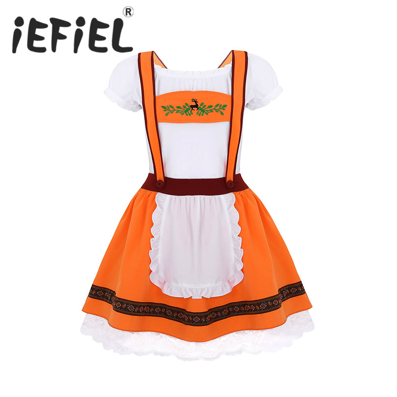 Women Adults Halloween Beer Girls Elk Costume Outfits Short Sleeve T-shirt Top with Suspenders Dress for Dress Up Party Cosplay