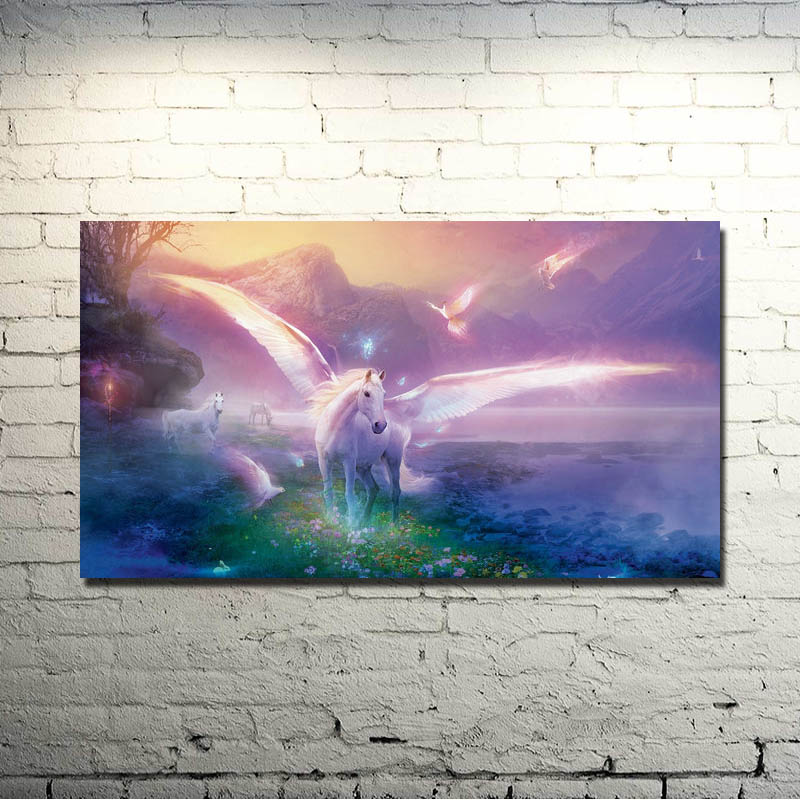 Horse Running Sunset Nature Animals Art Silk Poster Print 13x24 24x43 inch Nature Picture for Kids Home Decoration 021
