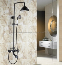 цена на Black Oil Rubbed Brass Rainfall 8 Shower Set Dual Handle Wall Mounted Bathroom Shower Faucet  with Handshower Tub Spout Nhg104