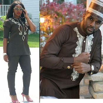 Couple africain vêtements femmes hommes dashiki broderie tenue costumes petit haut pantalon 2 pièces ensemble africain marron hommes dame costume