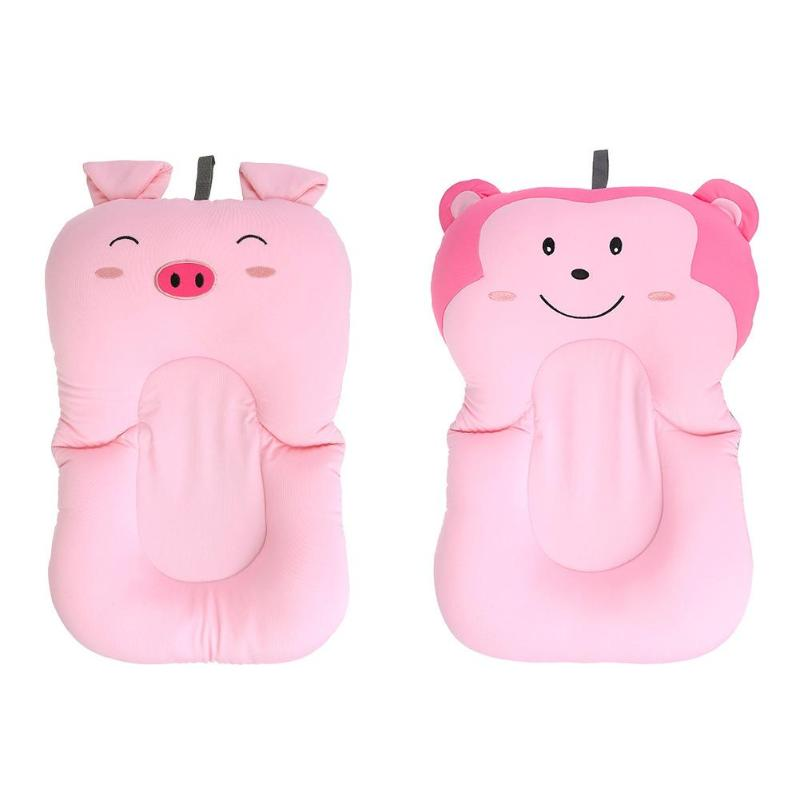 Cute Pink Cartoon Pig&Monkey Shape Baby Bath Bloom Baby Bathtub Newborn Cartoon Safety Bathtub Pad Seat Shower Support Cushion