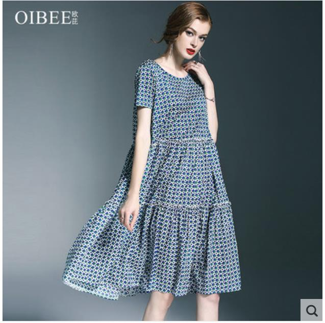 2018 summer womenswear new chic wave print short sleeves long mid length patchwork dress