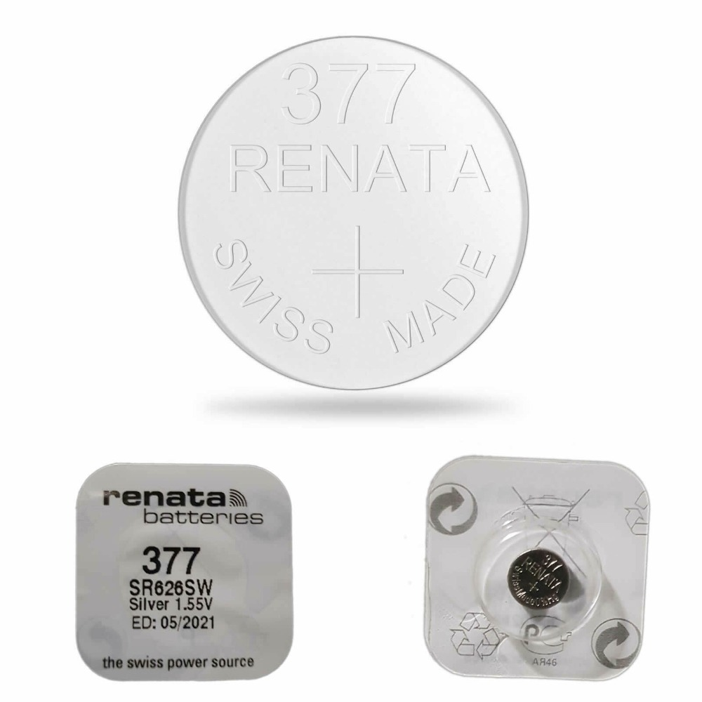 5 x батарея для часов RENATA 377 SR626SW швейцарское производство оксид серебра 1,55 в без ртути