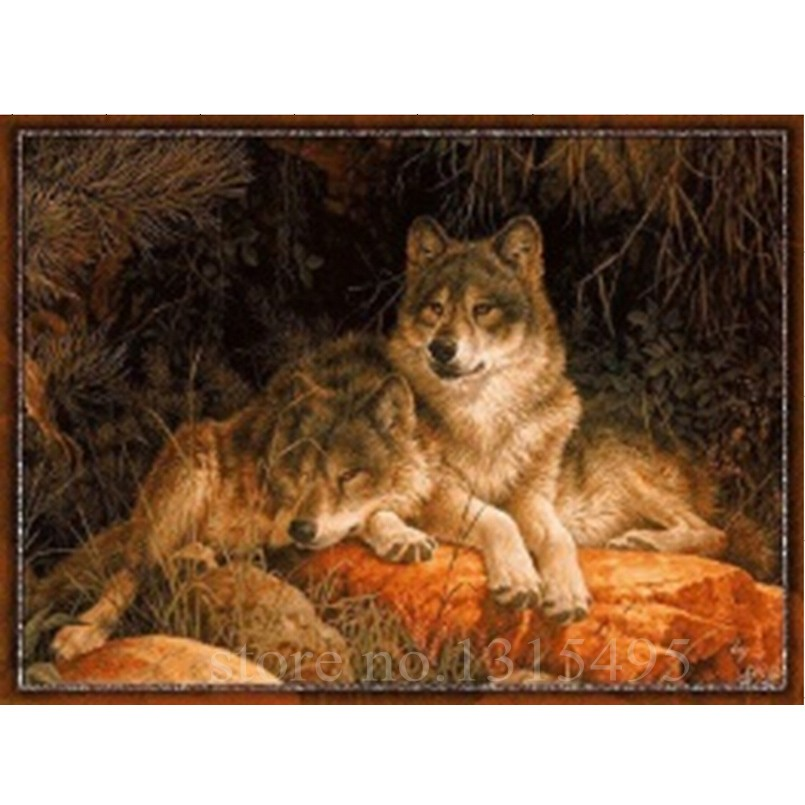 ộ_ộ ༽Costura lobos diamante pintura Cruz puntada 5d diamante ...