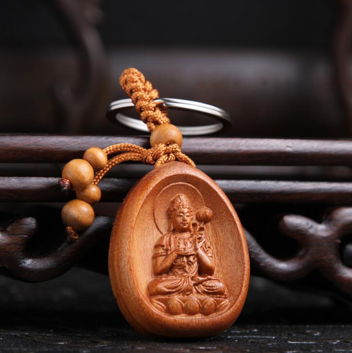 Chinese Peach Wood Carved The Patron Saint Of The Zodiac Horse Bodhisattva's Original Destiny Buddha  Exquisite Car Key Ch