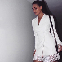 New Arrival Fashion Hot Selling Show Collection Style White Black Jacket Dress Elegant Evening Party Dress Casual Dropshipping