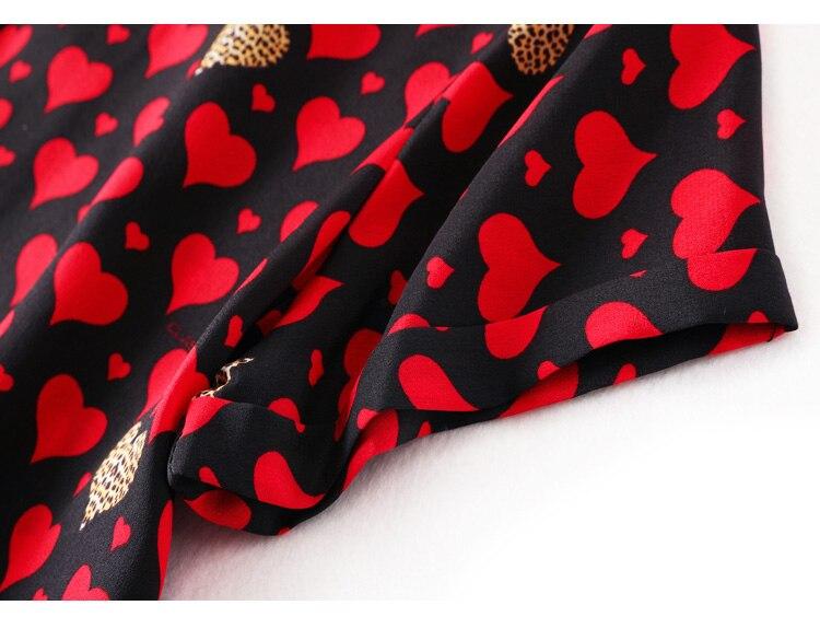 ผู้หญิง Mini 100% ผ้าไหม Crepe หัวใจสีแดงพิมพ์ชุดผู้หญิงผ้าไหมสั้น 2019 ฤดูร้อนใหม่ชุด-ใน ชุดเดรส จาก เสื้อผ้าสตรี บน   3