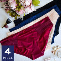 Attrico, женское кружевное хипстерское нижнее белье, v-образный вырез, трусики, трусы, хлопок, 4 упаковки, галстук-бабочка, дышащие, прозрачные, ли...