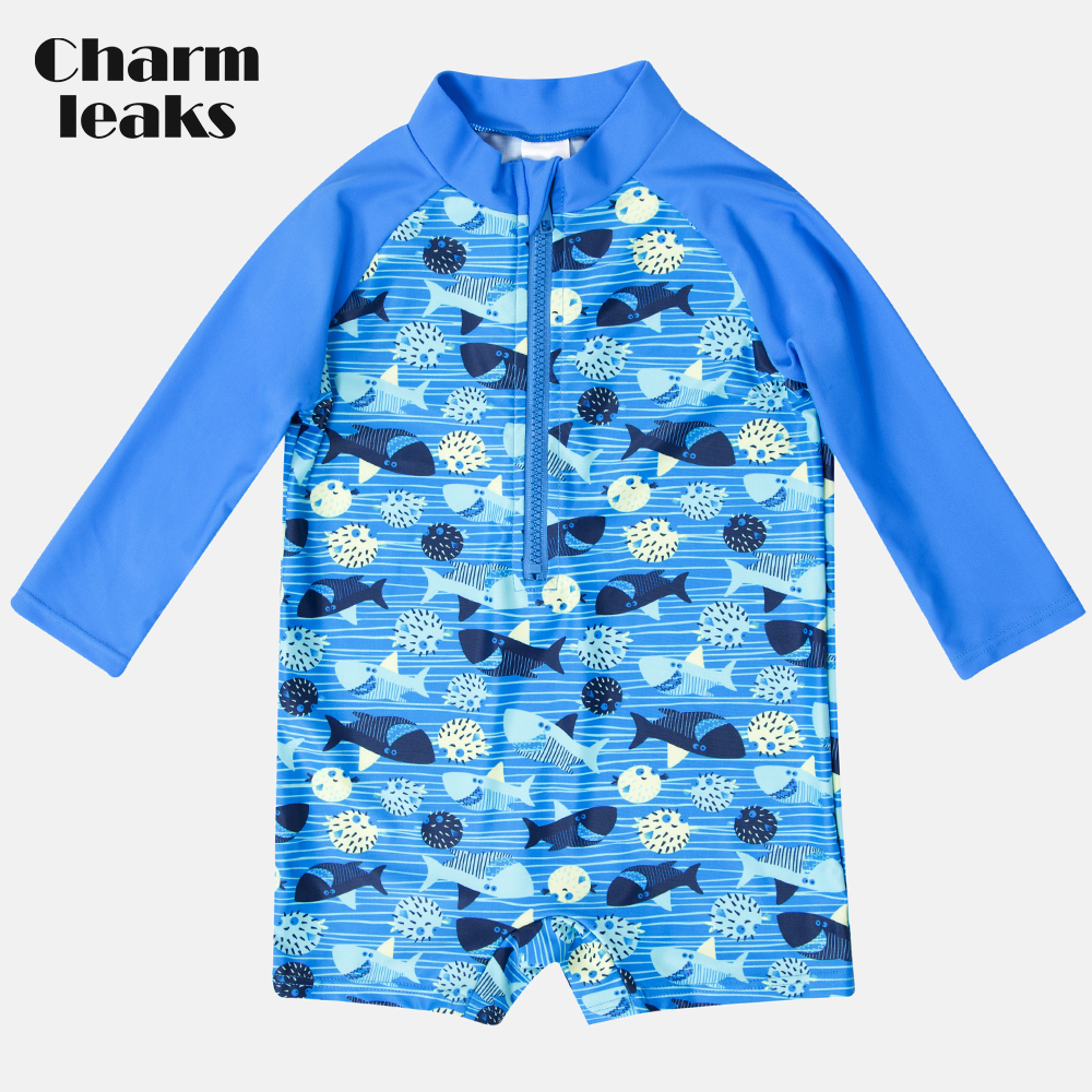 Charmleaks One-Piece Bebê do Menino Zipper Swimwear Peixe Impresso 50 UPF Rash Guard Rashguard Maiô Criança de Manga Comprida + Beach Wear