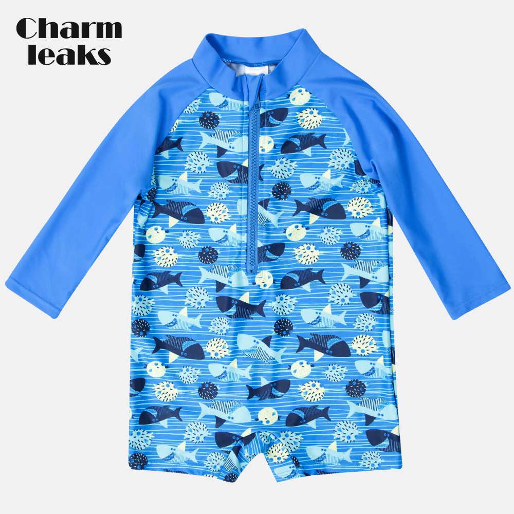 Charmleaks Satu Potong Bayi Anak Laki-laki Ritsleting Baju Renang Ikan Dicetak K Berlaku Baju Renang Anak Lengan Panjang Ruam Penjaga UPF 50 + Pantai