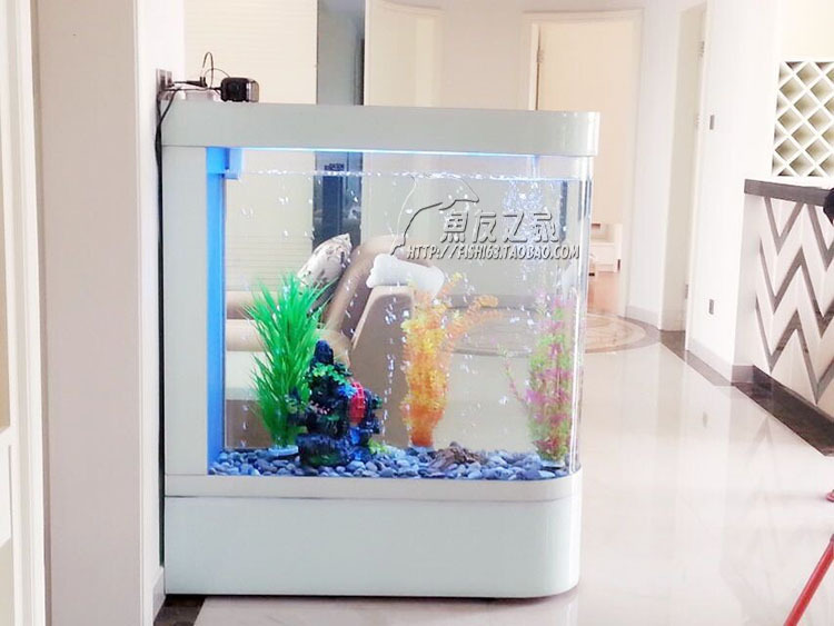 Bullet glass wall partition wall aquarium fish tank wood base cabinet durable without distortion - Fish tank partition wall ...