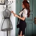 Dabuwawa подтяжки юбка летом 2016 новинка дамы свободного покроя короткие клетчатые юбки карандаш женщины большие размеры