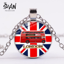 SIAN London England Red Double Decker Bus Necklace Creative Street View Art Picture Glass Cabochon Pendant Souvenir Friends Gift(China)