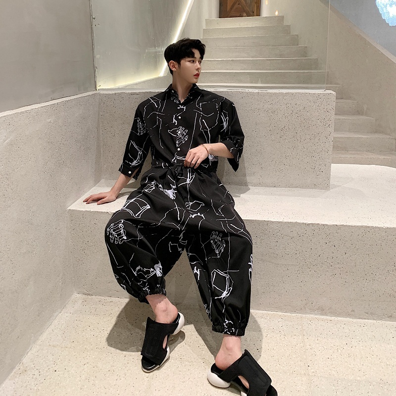 Casual Shirt Jumpsuits Three Quarter Sleeve Mens Spring Summer Fashion Streetwear Hip Hop Printed Overalls Harem Trousers YT5079