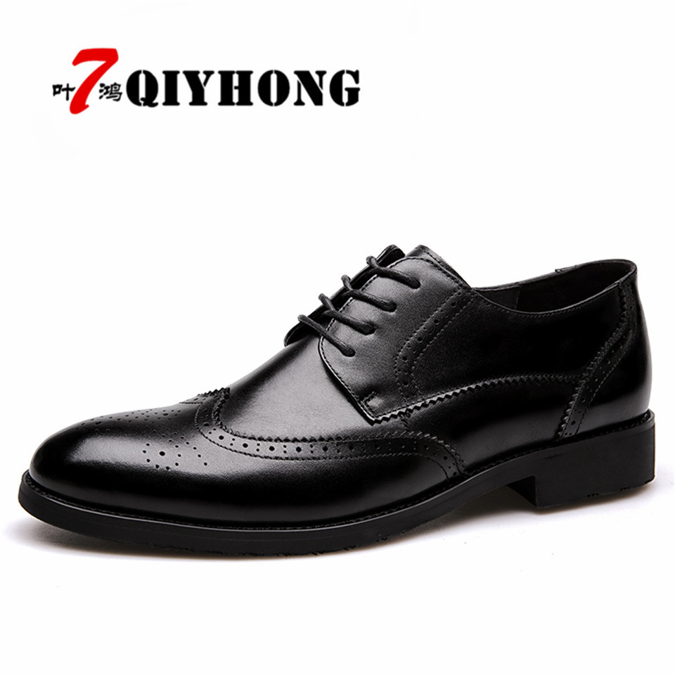 Men Dress Shoes New Oxford Leather Man Shoes QIYHONG Luxury Brand Formal Footwear Male Office Shoes For Men Men Breathable Super